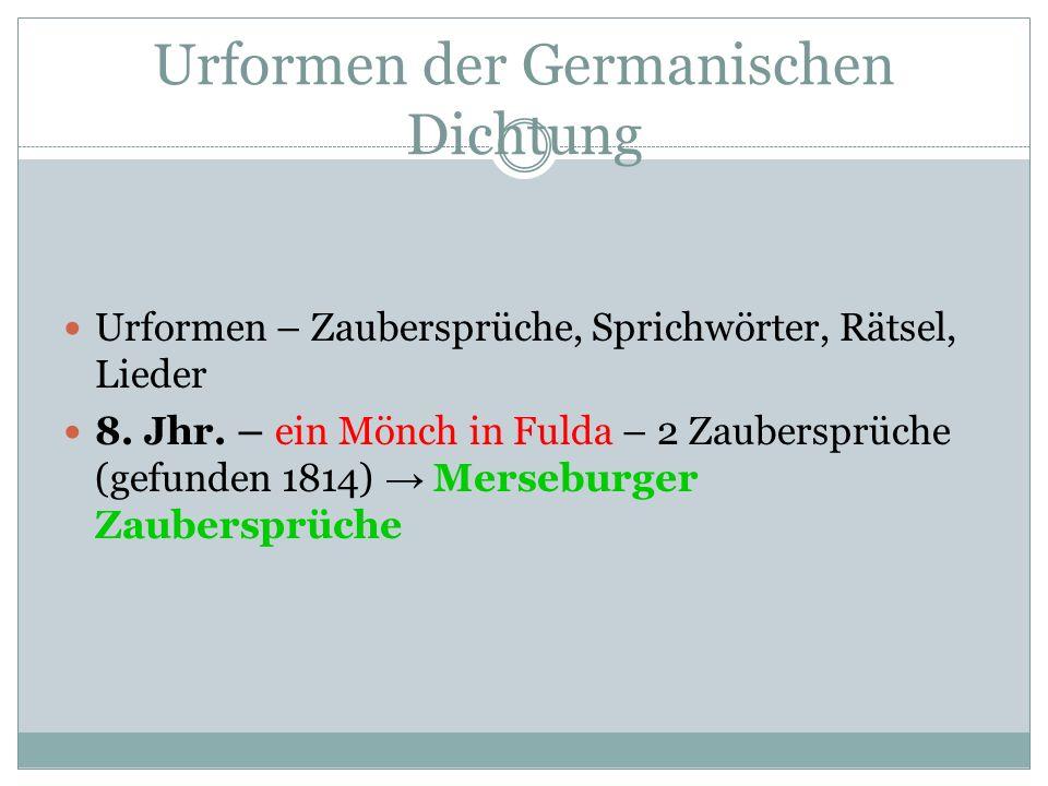 Urformen der Germanischen Dichtung