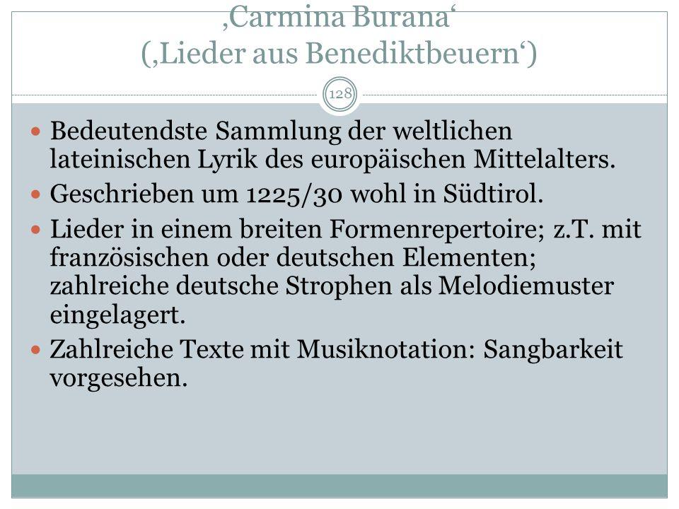 'Carmina Burana' ('Lieder aus Benediktbeuern')