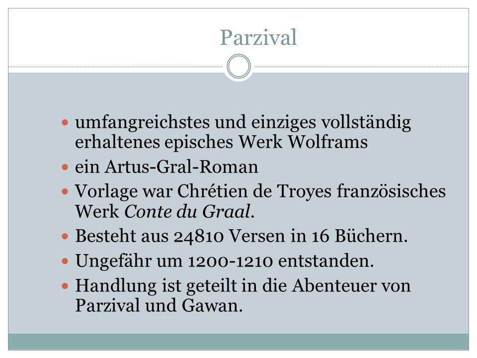 Parzival umfangreichstes und einziges vollständig erhaltenes episches Werk Wolframs. ein Artus-Gral-Roman.