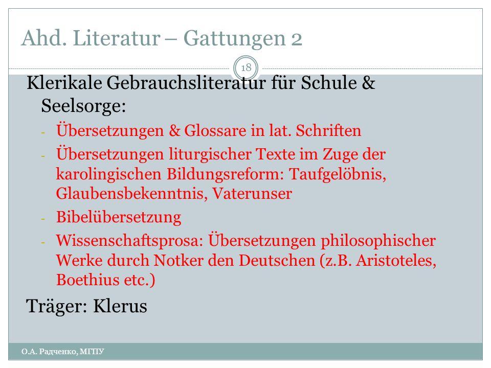 Ahd. Literatur – Gattungen 2