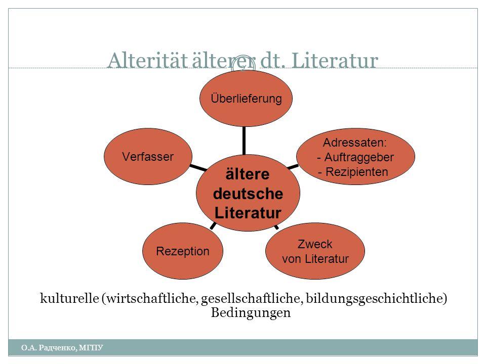 Alterität älterer dt. Literatur