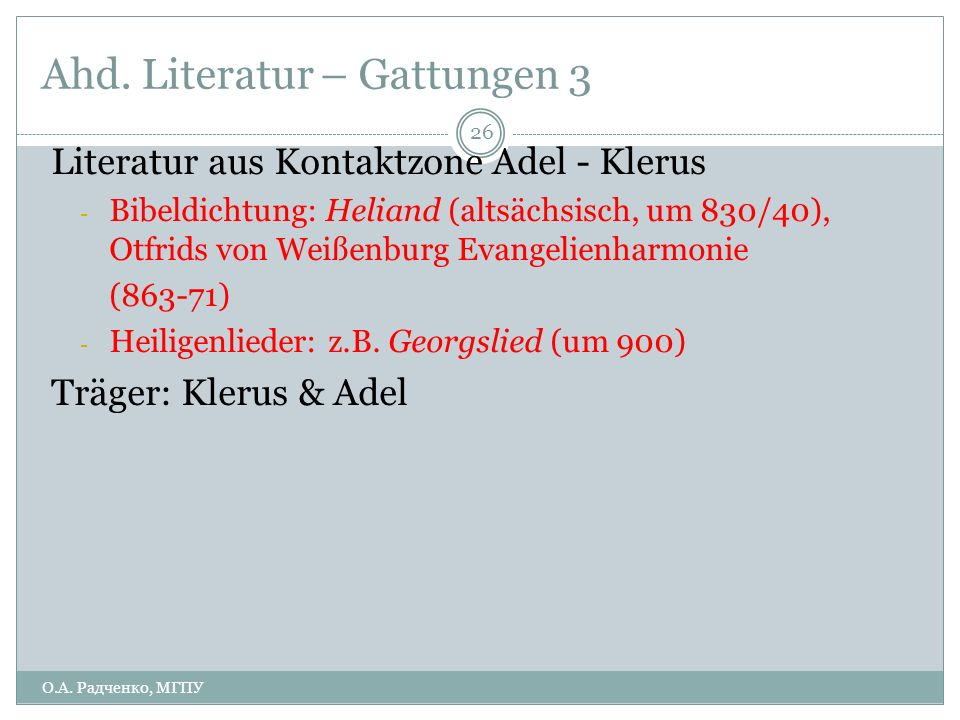 Ahd. Literatur – Gattungen 3