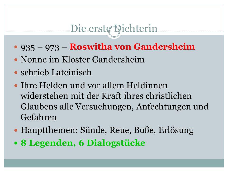 Die erste Dichterin 935 – 973 – Roswitha von Gandersheim