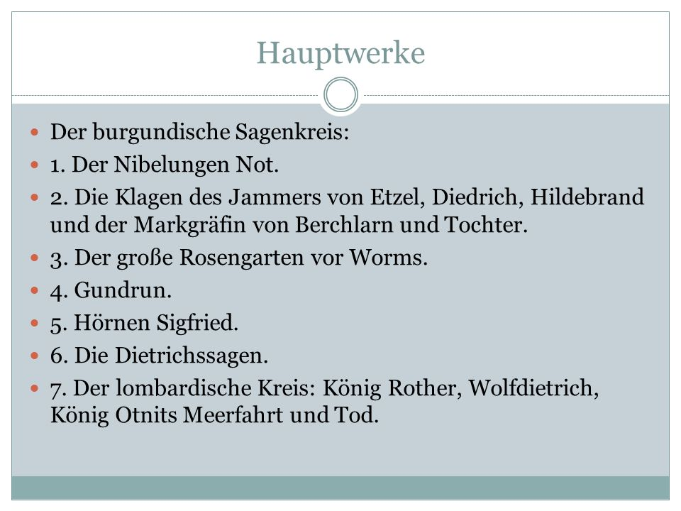 Hauptwerke Der burgundische Sagenkreis: 1. Der Nibelungen Not.