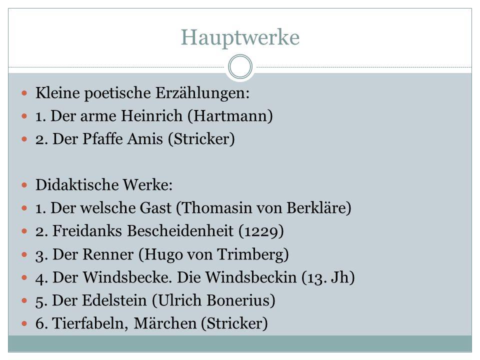 Hauptwerke Kleine poetische Erzählungen:
