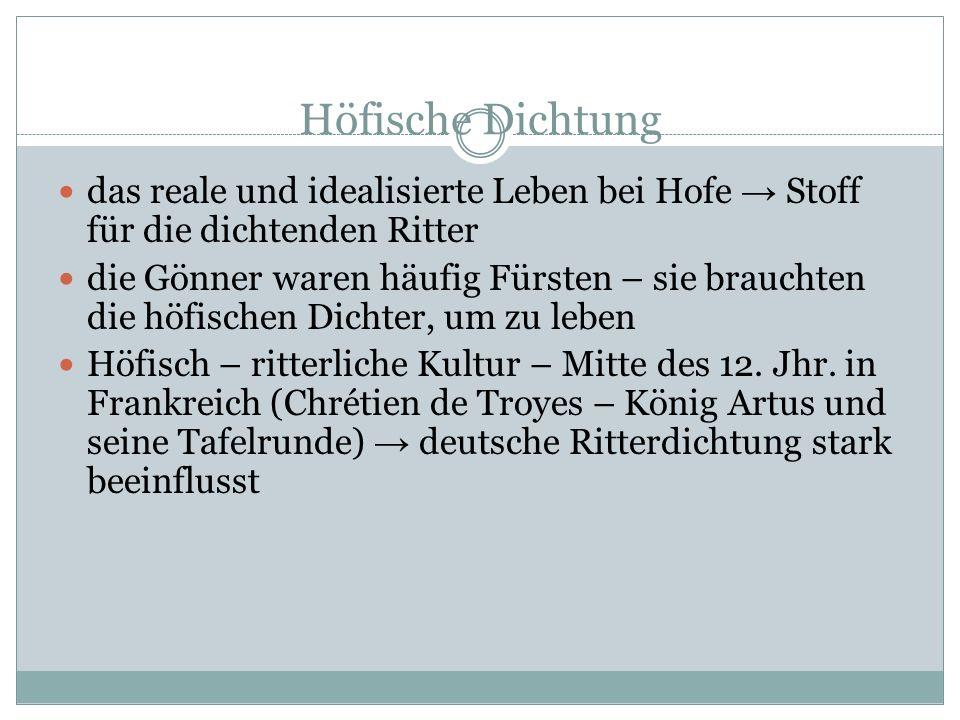 Höfische Dichtung das reale und idealisierte Leben bei Hofe → Stoff für die dichtenden Ritter.