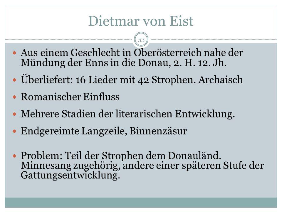 Dietmar von Eist Aus einem Geschlecht in Oberösterreich nahe der Mündung der Enns in die Donau, 2. H. 12. Jh.