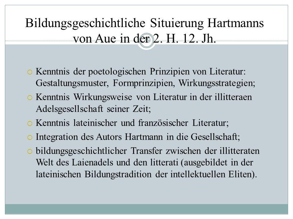 Bildungsgeschichtliche Situierung Hartmanns von Aue in der 2. H. 12. Jh.