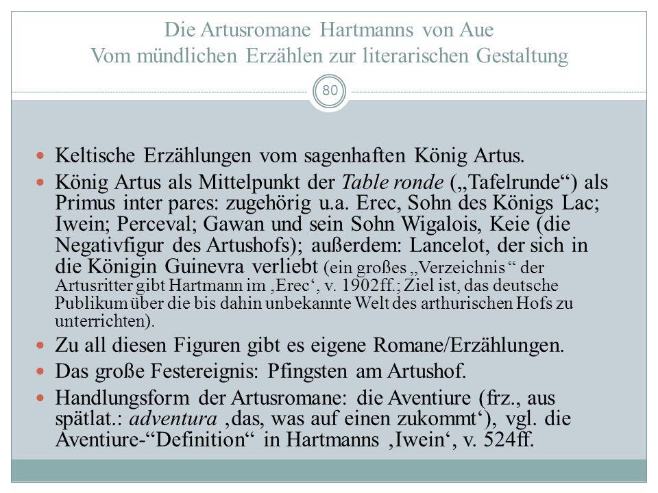 Die Artusromane Hartmanns von Aue Vom mündlichen Erzählen zur literarischen Gestaltung