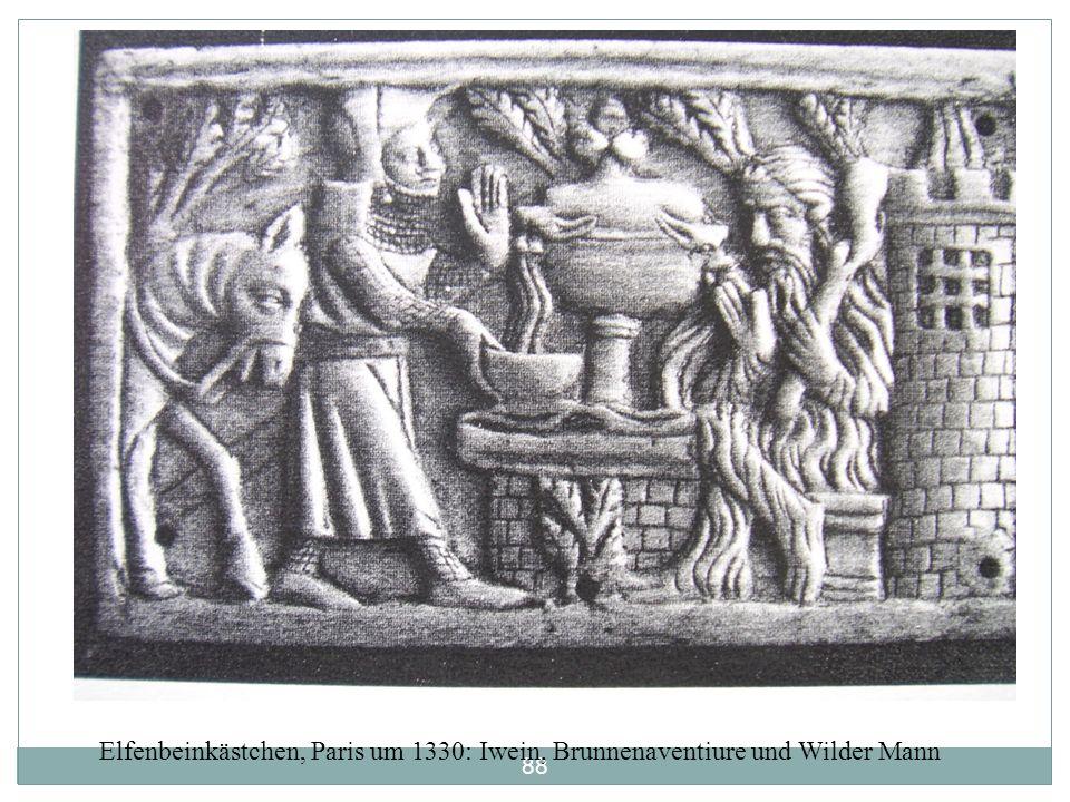 Elfenbeinkästchen, Paris um 1330: Iwein, Brunnenaventiure und Wilder Mann