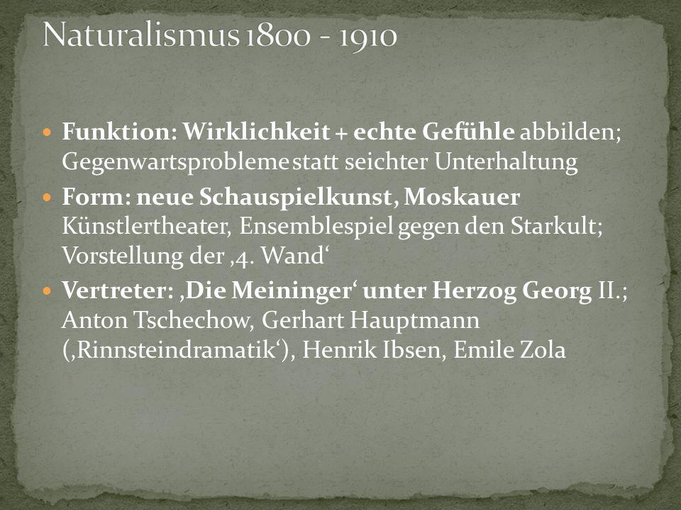 Naturalismus 1800 - 1910 Funktion: Wirklichkeit + echte Gefühle abbilden; Gegenwartsprobleme statt seichter Unterhaltung.