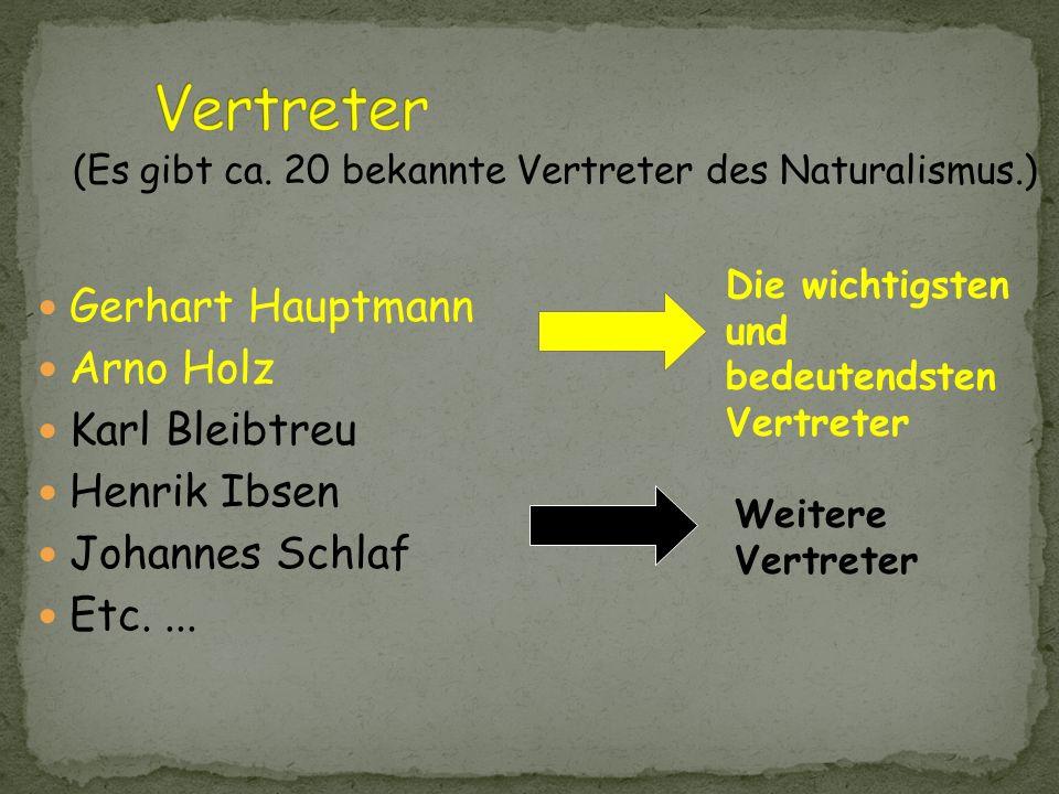 Vertreter Gerhart Hauptmann Arno Holz Karl Bleibtreu Henrik Ibsen