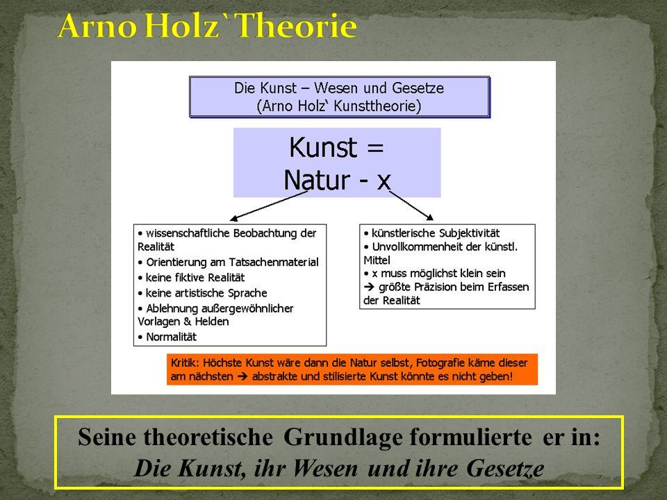 Arno Holz`Theorie Seine theoretische Grundlage formulierte er in: Die Kunst, ihr Wesen und ihre Gesetze.