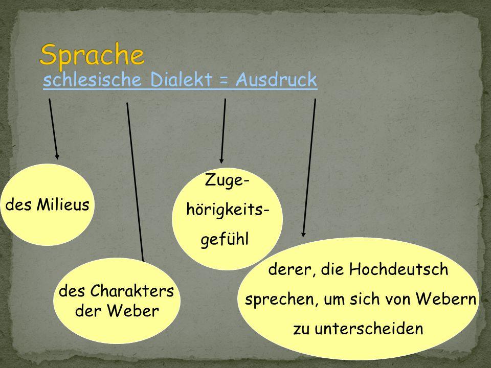 Sprache schlesische Dialekt = Ausdruck Zuge- des Milieus hörigkeits-