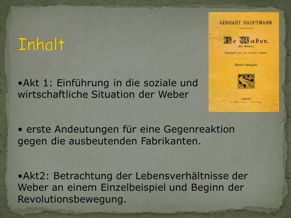 Inhalt Akt 1: Einführung in die soziale und wirtschaftliche Situation der Weber.