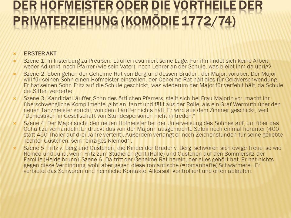 Der Hofmeister oder Die Vortheile der Privaterziehung (Komödie 1772/74)