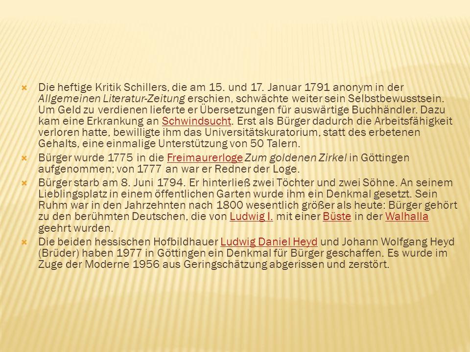 Die heftige Kritik Schillers, die am 15. und 17