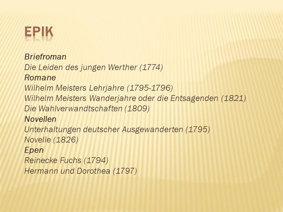 EPIK Briefroman Die Leiden des jungen Werther (1774) Romane