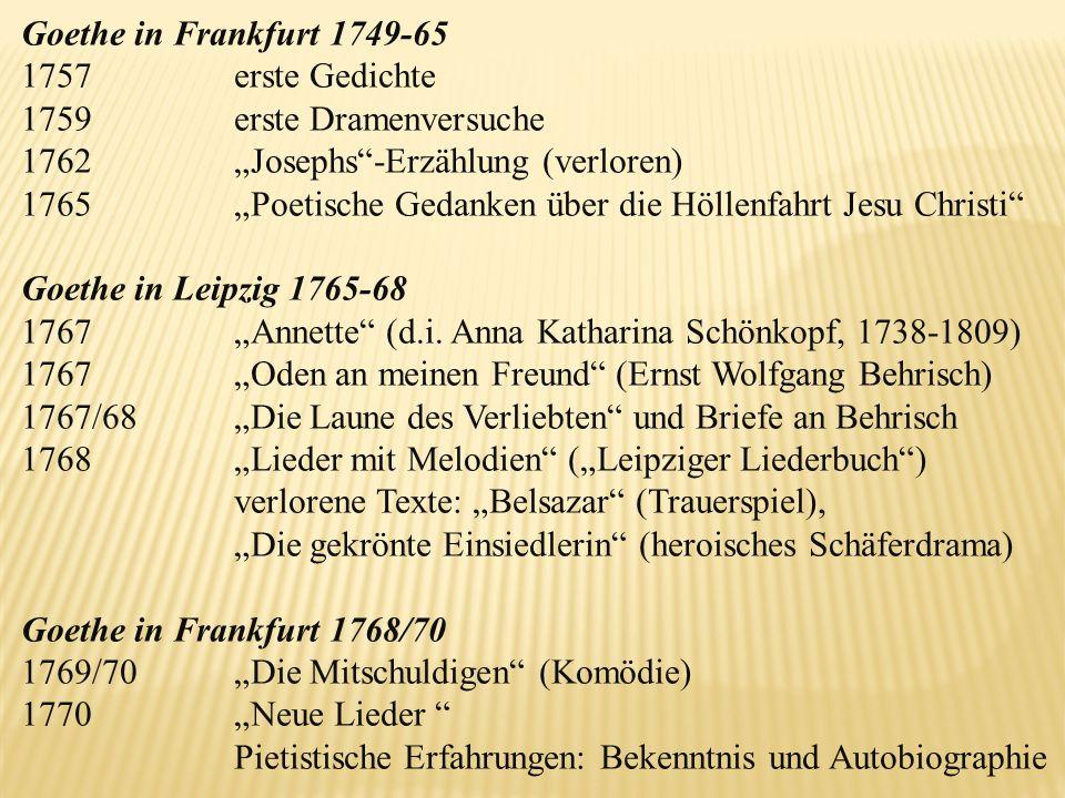 """Goethe in Frankfurt 1749-65 1757 erste Gedichte. 1759 erste Dramenversuche. 1762 """"Josephs -Erzählung (verloren)"""