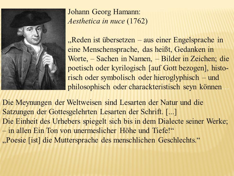 Johann Georg Hamann: Aesthetica in nuce (1762)