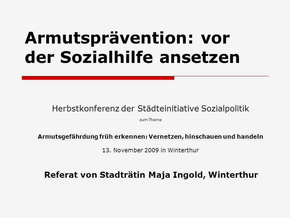 Armutsprävention: vor der Sozialhilfe ansetzen