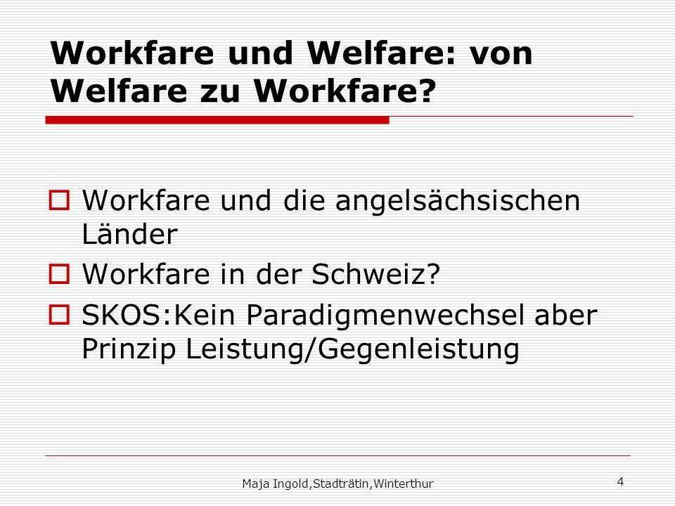 Workfare und Welfare: von Welfare zu Workfare