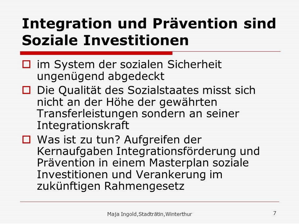 Integration und Prävention sind Soziale Investitionen