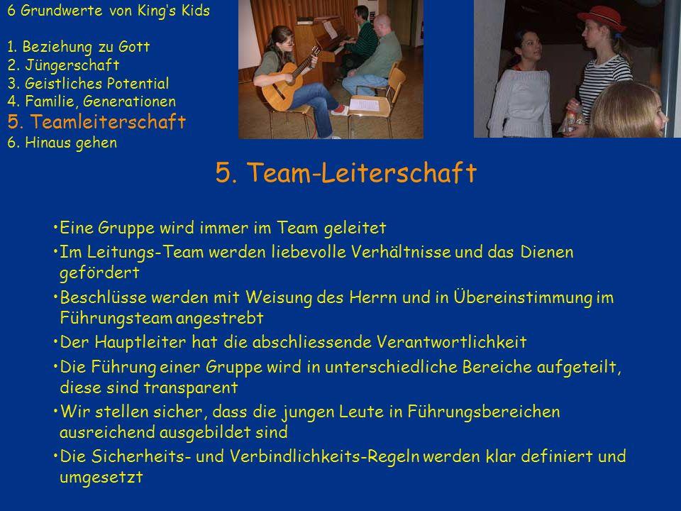5. Team-Leiterschaft Eine Gruppe wird immer im Team geleitet