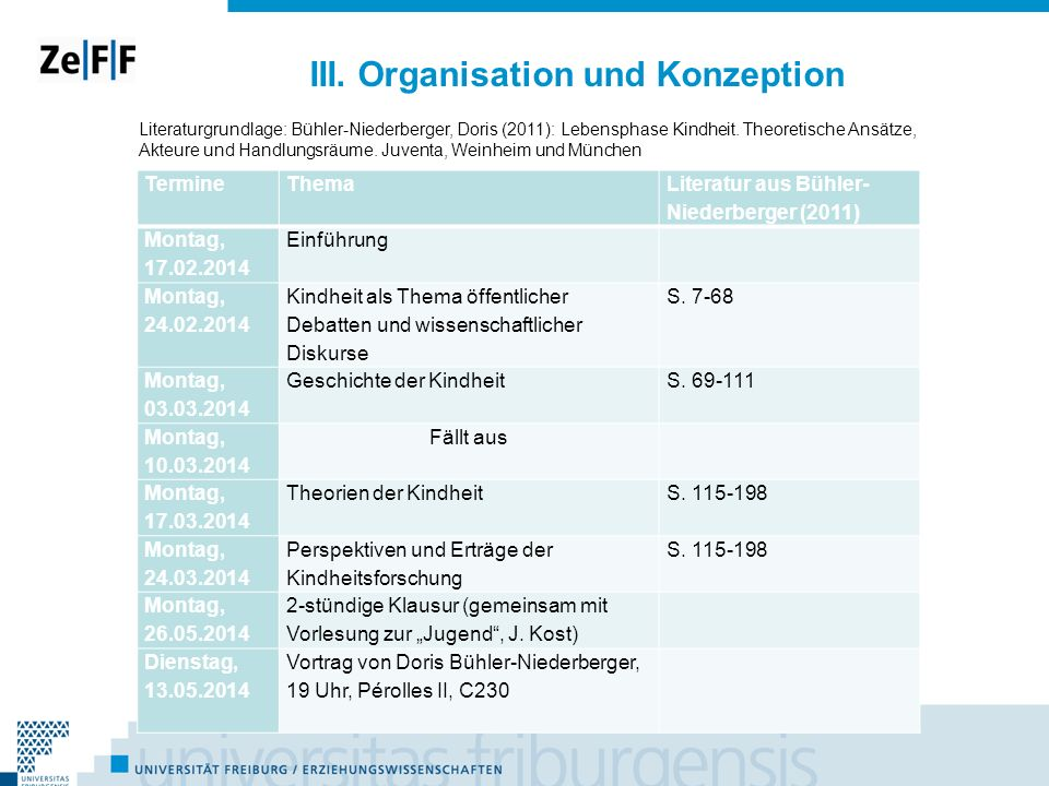 III. Organisation und Konzeption