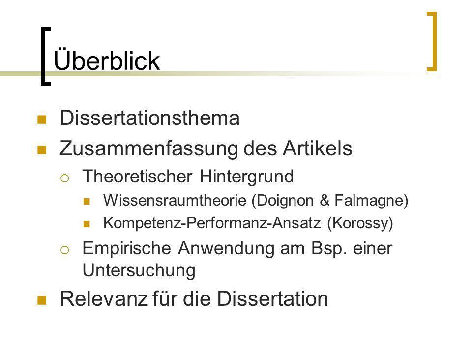 Überblick Dissertationsthema Zusammenfassung des Artikels