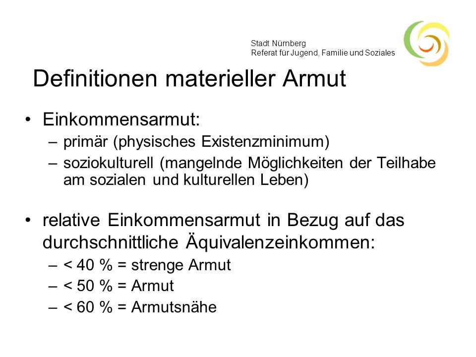 Definitionen materieller Armut