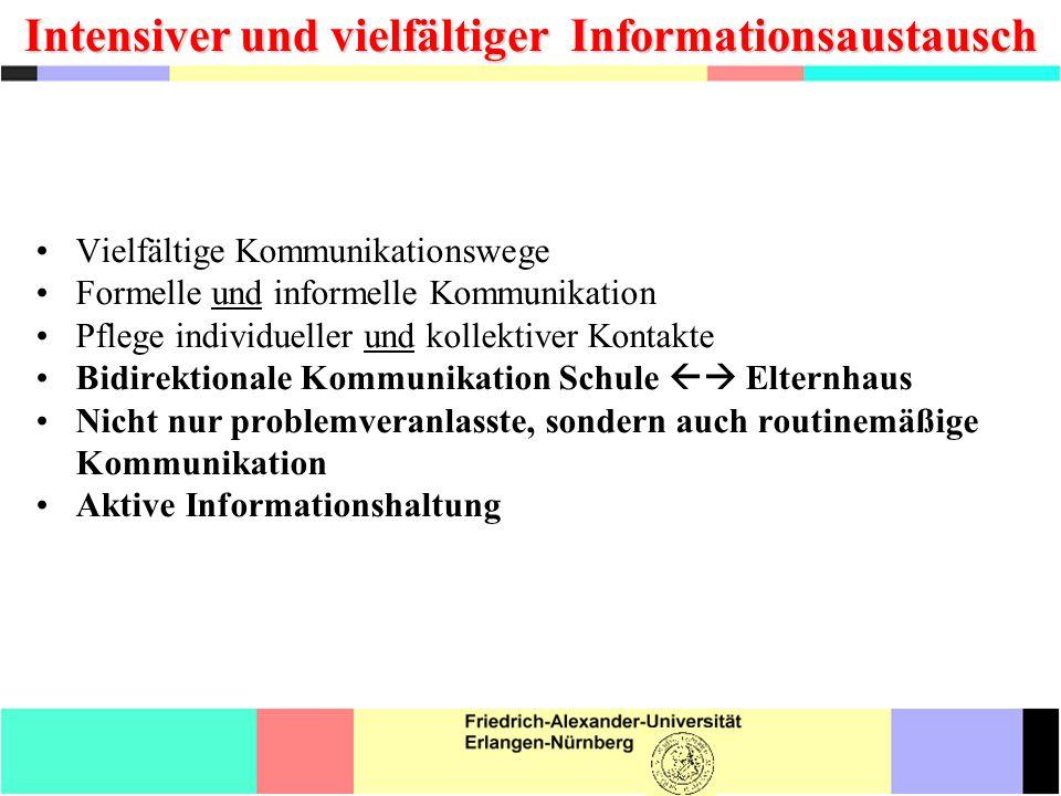 Intensiver und vielfältiger Informationsaustausch