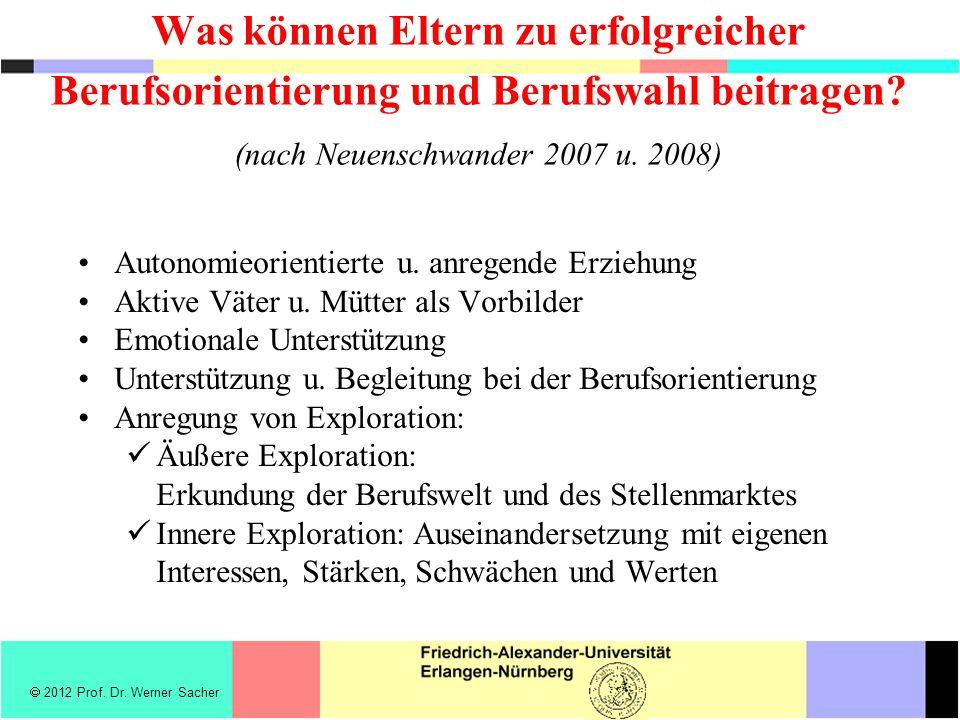 Was können Eltern zu erfolgreicher Berufsorientierung und Berufswahl beitragen (nach Neuenschwander 2007 u. 2008)