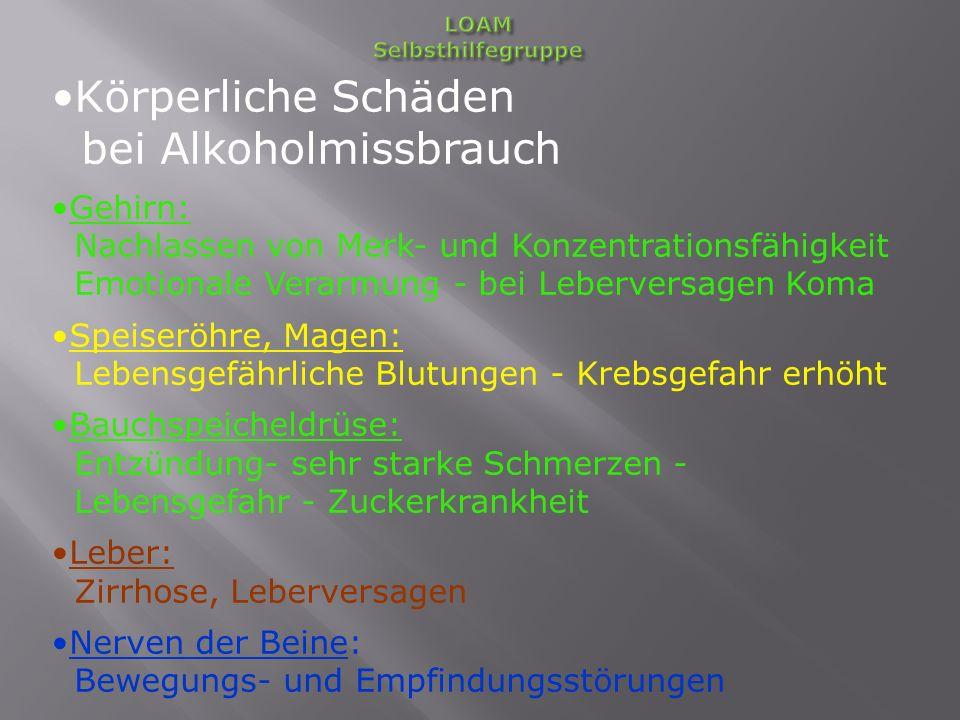 Körperliche Schäden bei Alkoholmissbrauch