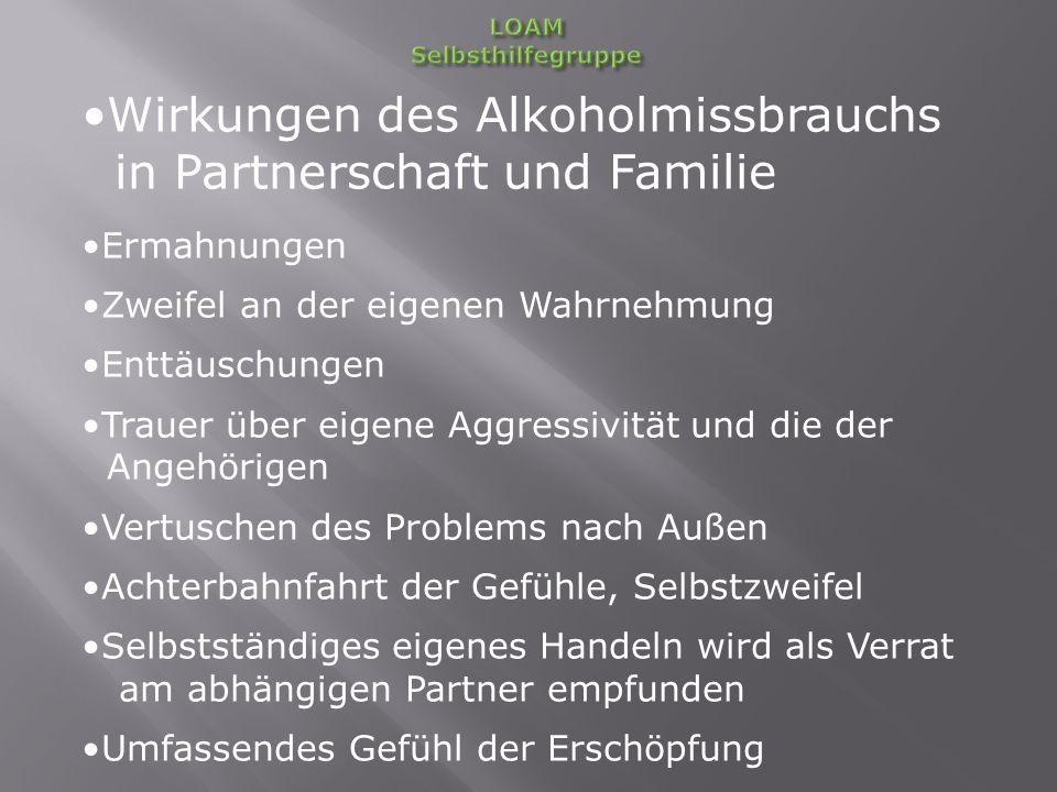 Wirkungen des Alkoholmissbrauchs in Partnerschaft und Familie