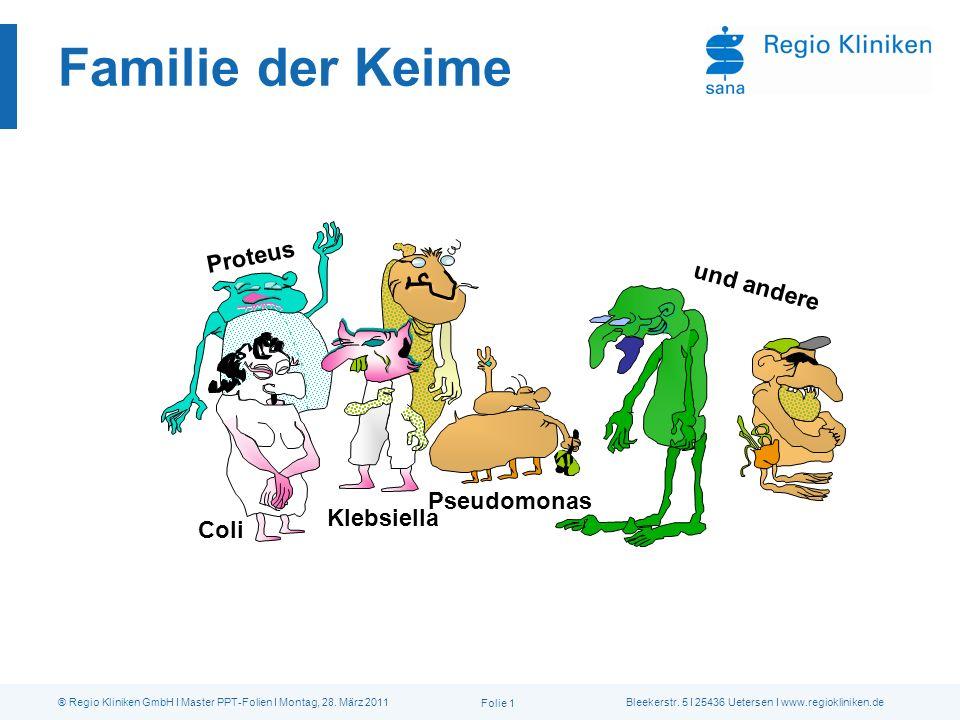 Familie der Keime Proteus Coli Klebsiella Pseudomonas und andere