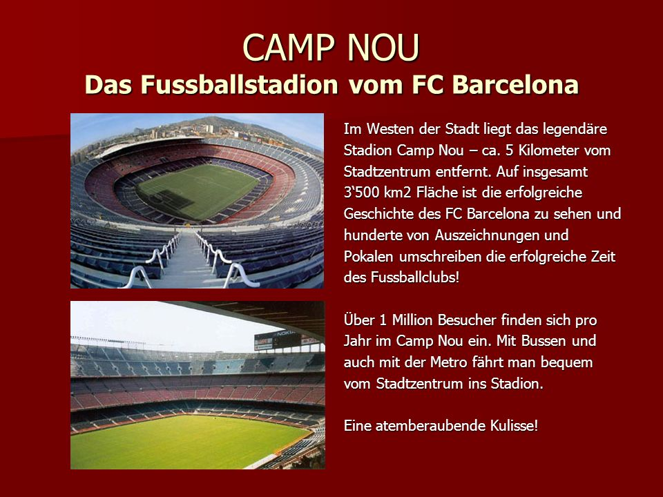 CAMP NOU Das Fussballstadion vom FC Barcelona