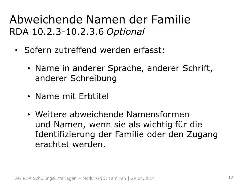 Abweichende Namen der Familie RDA 10.2.3-10.2.3.6 Optional