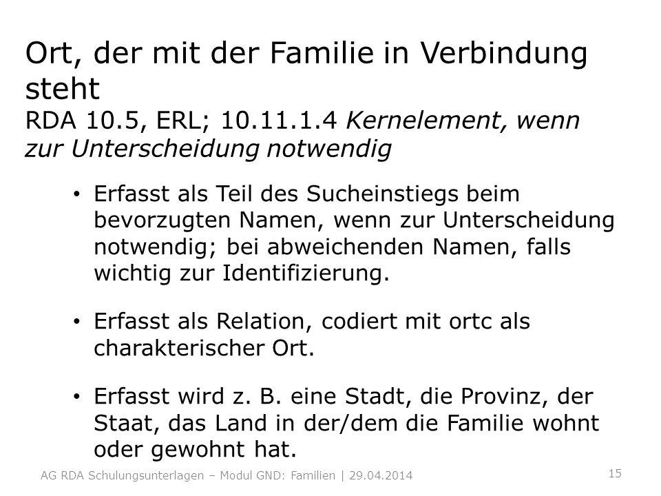 Ort, der mit der Familie in Verbindung steht RDA 10. 5, ERL; 10. 11. 1