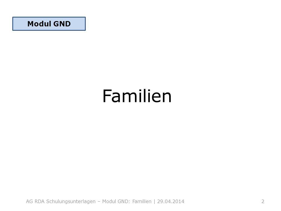 Modul GND Familien AG RDA Schulungsunterlagen – Modul GND: Familien | 29.04.2014