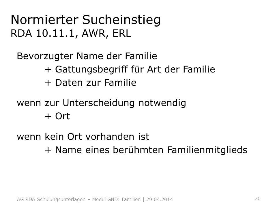 Normierter Sucheinstieg RDA 10.11.1, AWR, ERL
