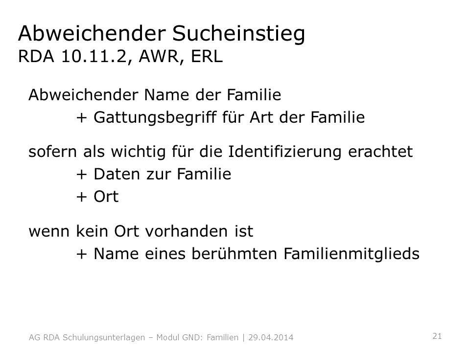 Abweichender Sucheinstieg RDA 10.11.2, AWR, ERL