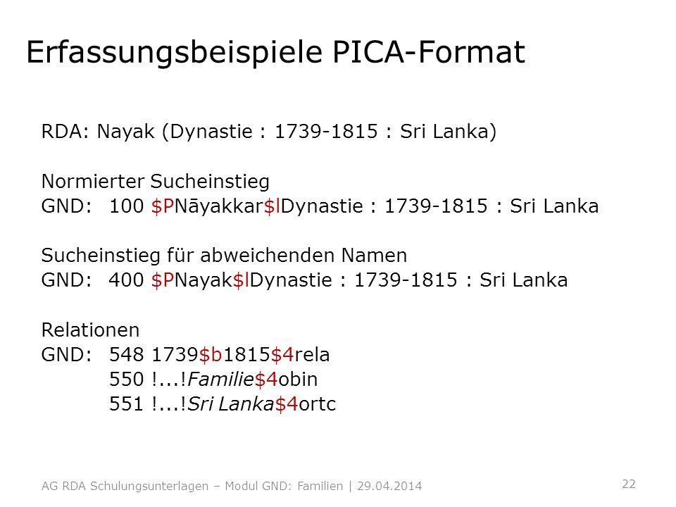 Erfassungsbeispiele PICA-Format
