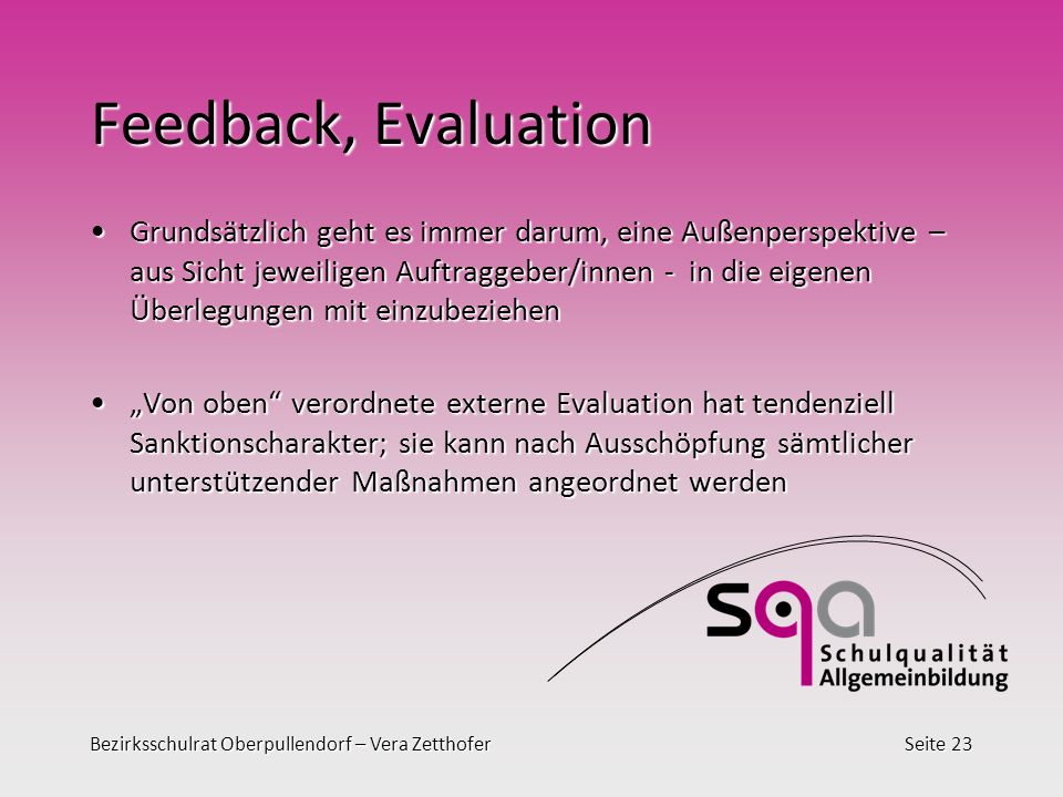 Feedback, Evaluation