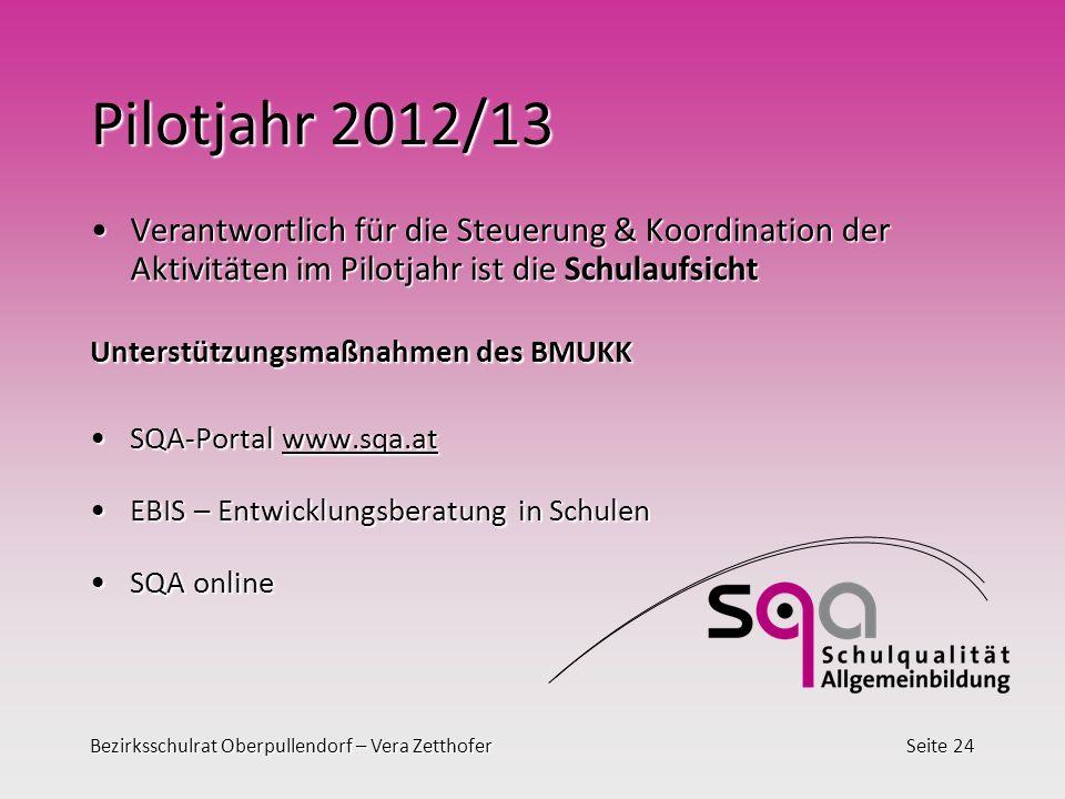 Pilotjahr 2012/13 Verantwortlich für die Steuerung & Koordination der Aktivitäten im Pilotjahr ist die Schulaufsicht.