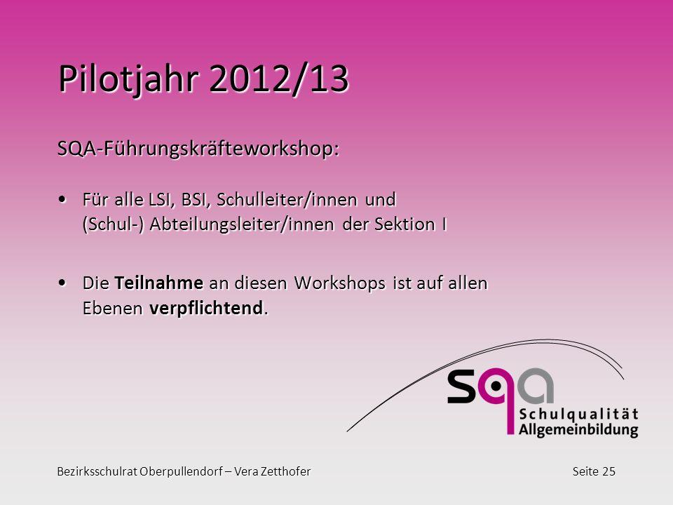 Pilotjahr 2012/13 SQA-Führungskräfteworkshop: