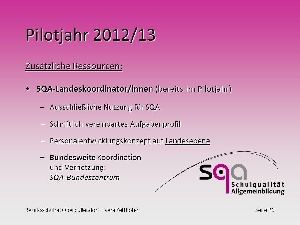 Pilotjahr 2012/13 Zusätzliche Ressourcen: