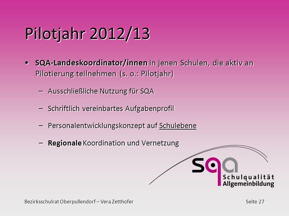 Pilotjahr 2012/13 SQA-Landeskoordinator/innen in jenen Schulen, die aktiv an Pilotierung teilnehmen (s. o.: Pilotjahr)