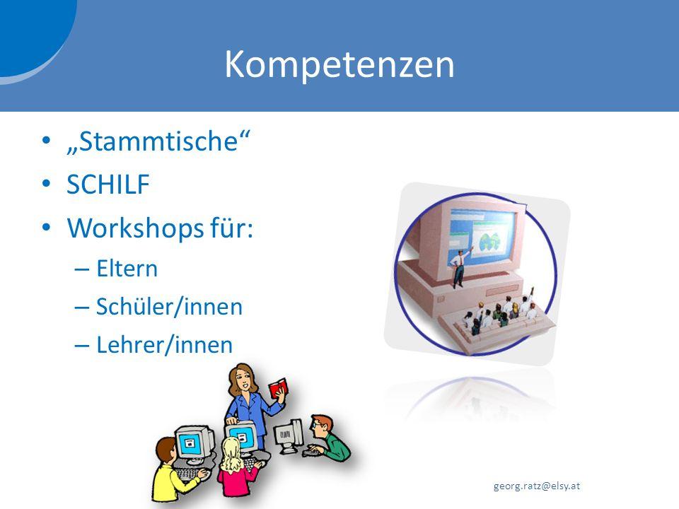 """Kompetenzen """"Stammtische SCHILF Workshops für: Eltern Schüler/innen"""
