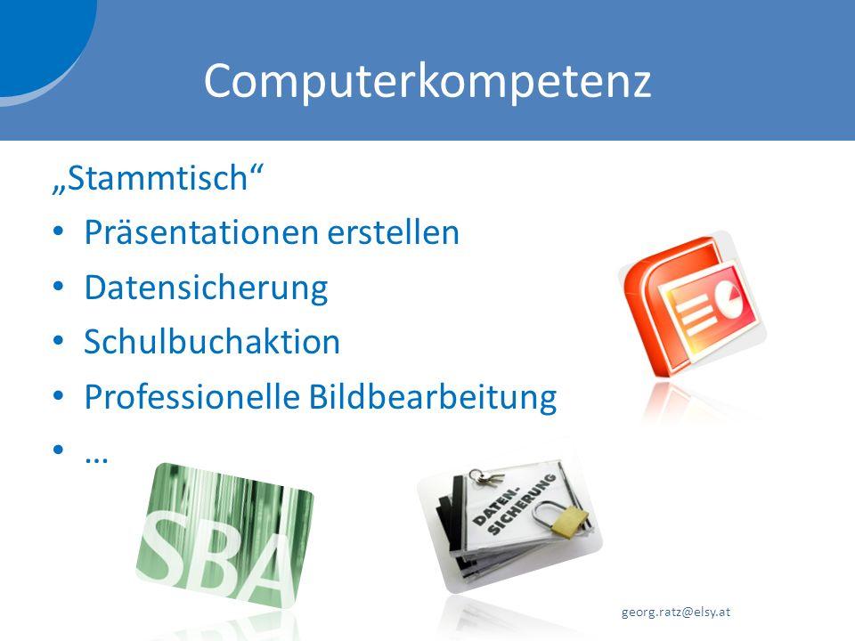 """Computerkompetenz """"Stammtisch Präsentationen erstellen Datensicherung"""